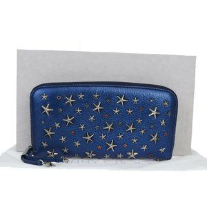 Jimmy Choo Studs Leather Long Wallet (bi-fold) Blu